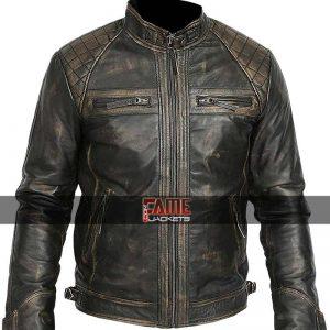 Men black rub off leather biker jacket