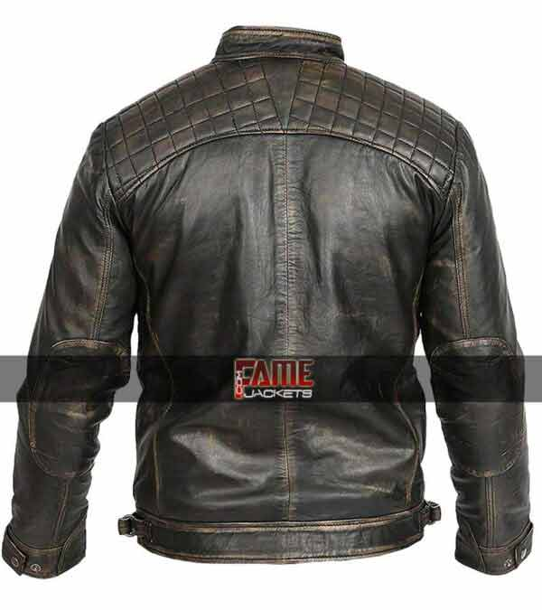 mens black biker rub off leather jacket