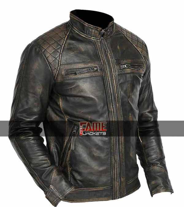 men real leather rub off black biker jacket