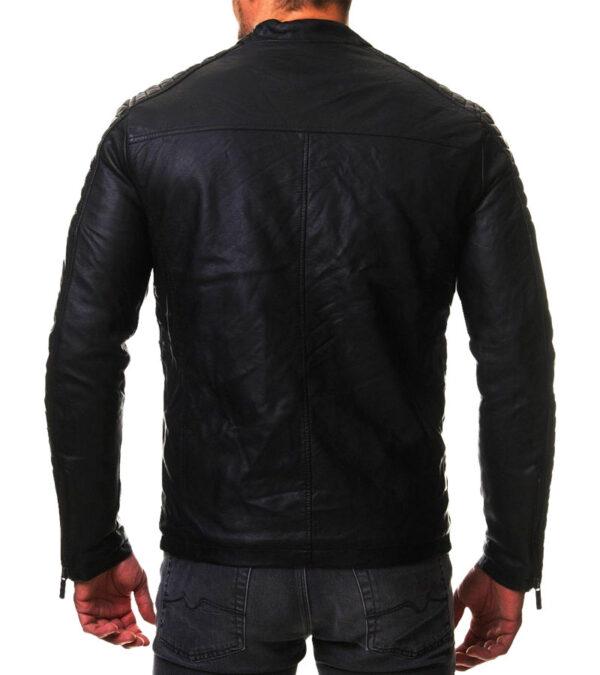 Vintage cafe racer black biker slim fit leather jacket