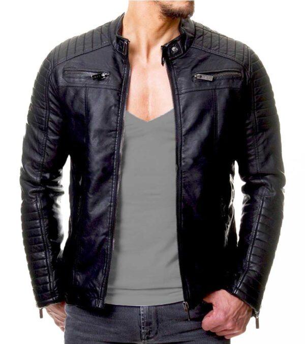 Vintage cafe racer black slim fit leather jacket