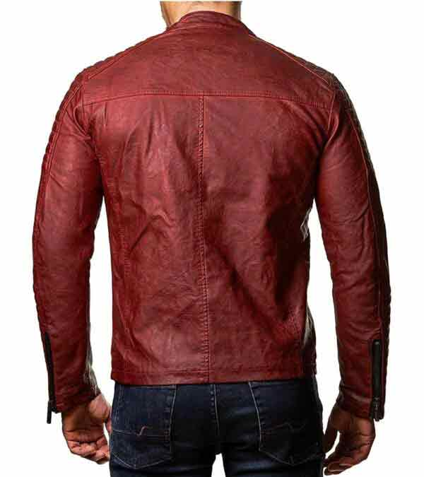 Mens vintage cafe racer slim fit biker leather jacket