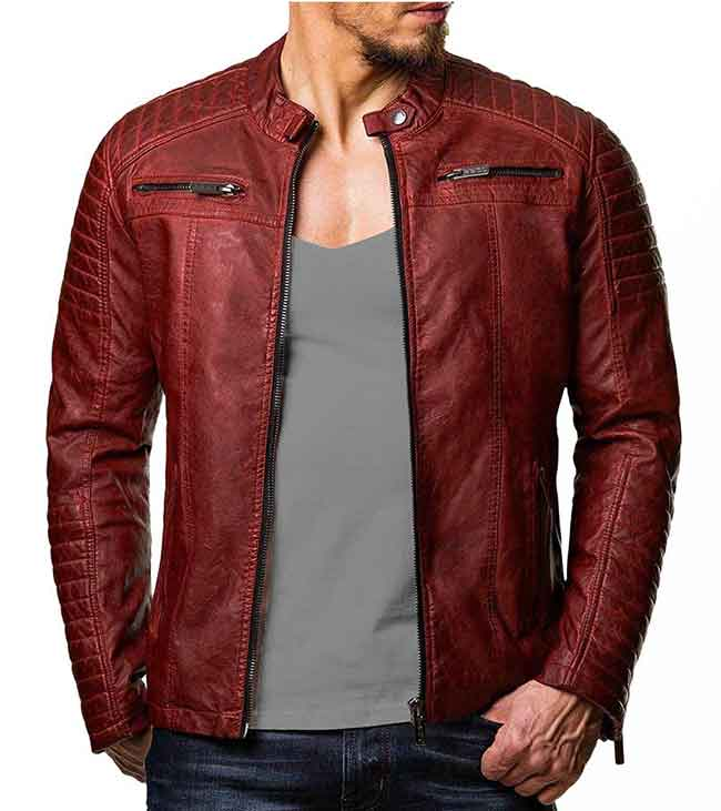 Men Distressed Maroon Red Genuine Leather Jacket