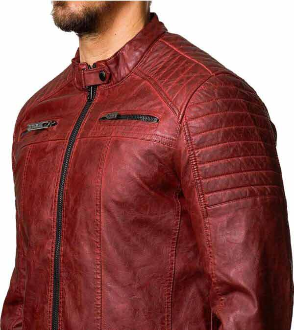 Cafe Racer Red Slim Fit Distressed Biker Jacket