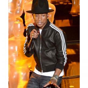 Pharrell Williams black and white strap leather jacket