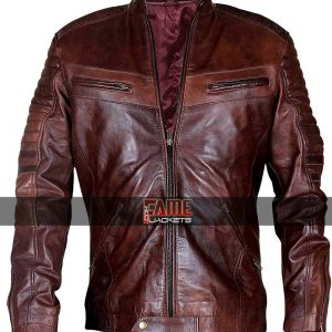 Buy Quilted Brown Waxed Brown Leather Jacket