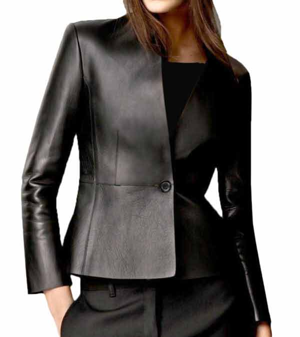 Women Casual Slim Fit Black Real Leather Coat Jacket