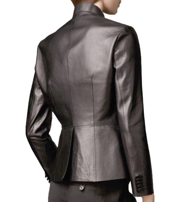 Women Office Slim Fit Black Faux Leather Coat Jacket