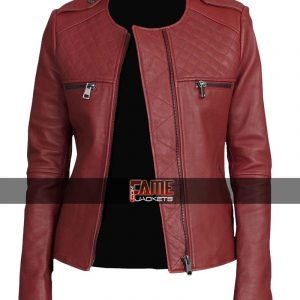 Buy Women Slim Fit Maroon Leather Collarless Jacket