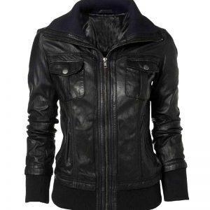 Men Women Real Black Leather Slim Fit Jacket Sale