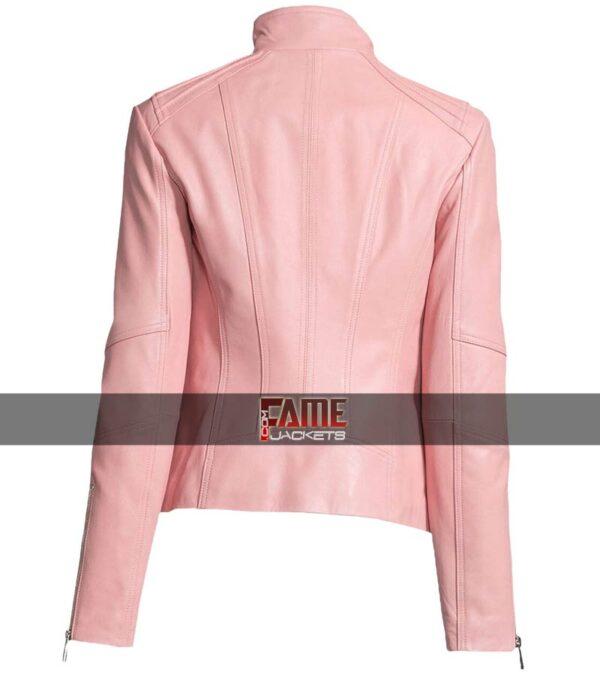 $40 Off on Ladies Pink Faux Leather Biker Jacket