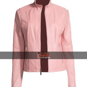 Buy Ladies Pink Leather Causal Wear Jacket at $40 Off