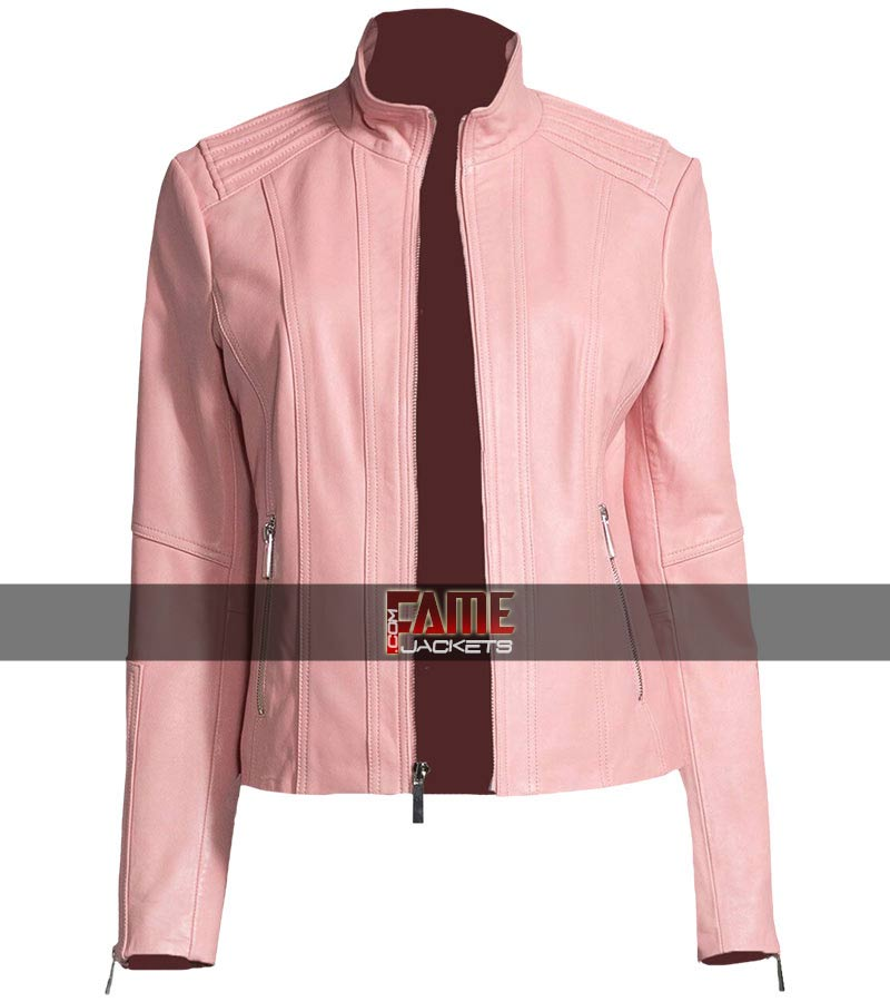 shop for luxury search for newest shop for official Women's New Style Casual Pink Leather Jacket