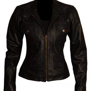 Women Slim Fit Biker Leather Jacket