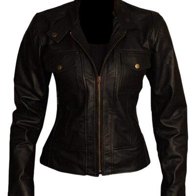 Women Slim Fit Biker Leather Jacket