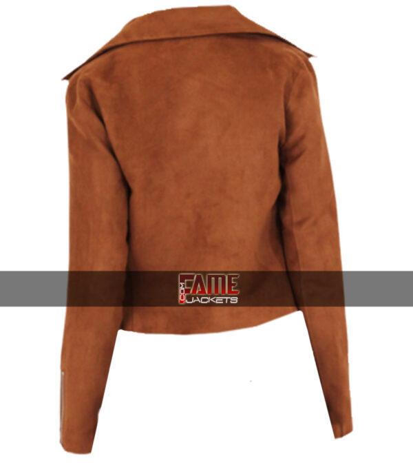 $40 Off Sale - Ladies Brown Suede Leather Biker Jacket