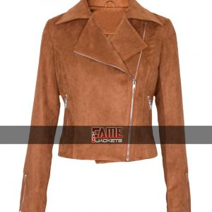 Buy Ladies Brown Suede Leather Jacket at $40 Off Sale