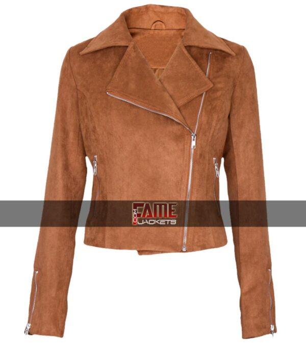 Buy Ladies Brown Suede Leather Jacket at $40 Off Sale