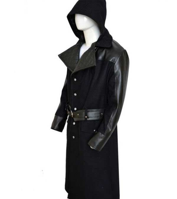 Assassin Creed Long Wool Leather Black Rain Coat