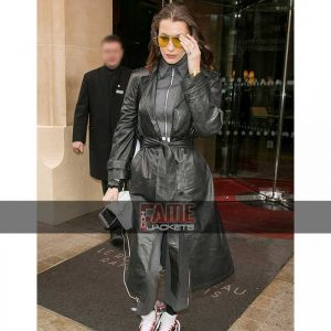 Women Black Leather Long Rain Coat