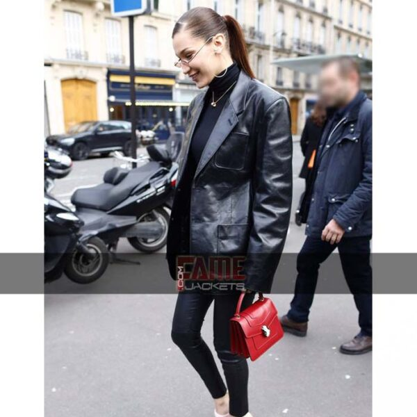 Bella Hadid Black Leather Blazer