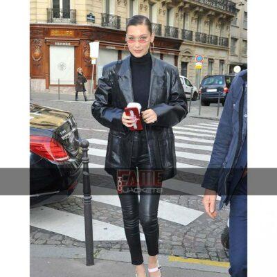Bella Hadid Black Vintage Style Leather Blazer