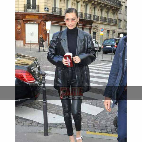 Bella Hadid Black Vintage Style Leather Blazer