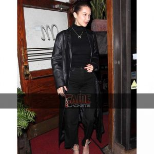 Casual Long Black Leather Overcoat
