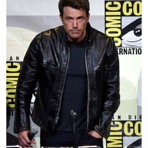 Ben Affleck Distressed Real Black Leather Jacket