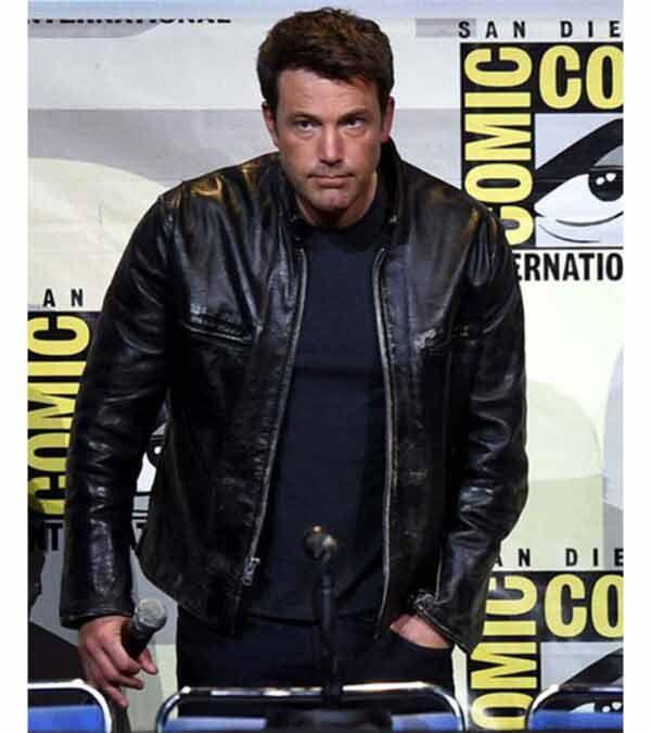 Ben Affleck Distressed Real Black Leather Jacket