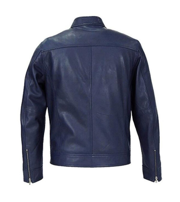 Cafe Racer Real Blue Leather Biker Jacket