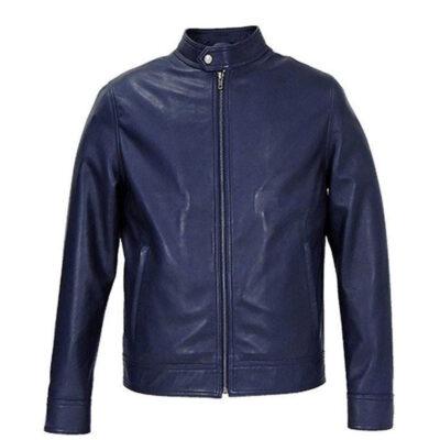 Men Blue Cafe Racer Biker Jacket