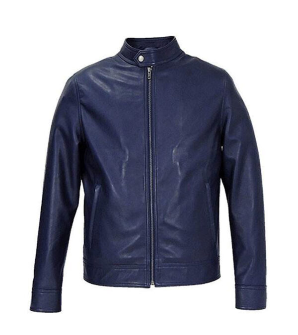 Men Blue Cafe Racer Biker Jacket