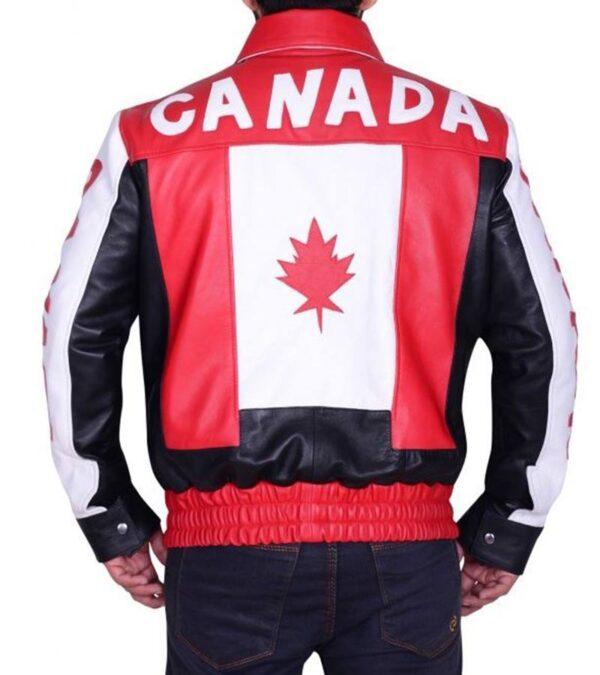 Canadian Flag Bomber Biker Real Leather Jacket