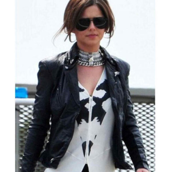 Buy Cheryl Cole Black Leather Biker Jacket at $40 Off