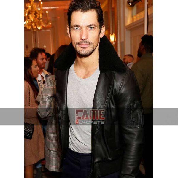 David Gandy Mens Real Leather Fur Collar Jacket