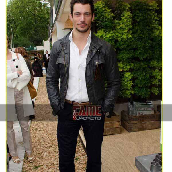 david gandy slim fit real black leather jacket