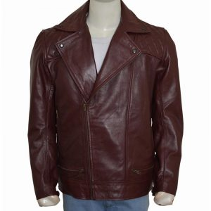 Edge Return Men Casual Brown Quilted Leather Jacket