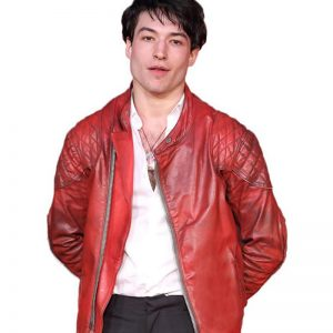 Ezra Miller Men Red Casual Leather Jacket