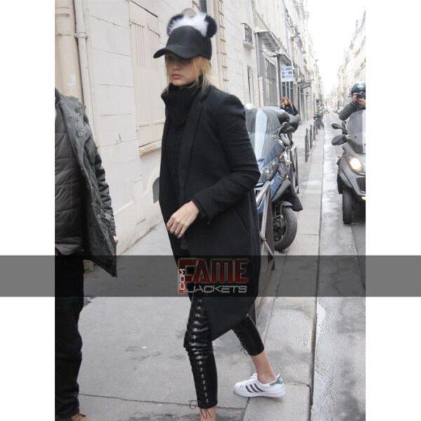 Gigi Hadid Black Simple Coat