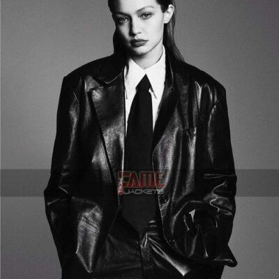 gigi hadid casual black leather office blazer coat