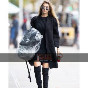 Gigi Hadid casual black wool coat