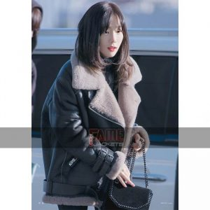 Goo Hara BF 3 White Fur Leather Jacket
