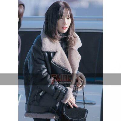 Goo Hara BF 3 White Fur Leather Jacket
