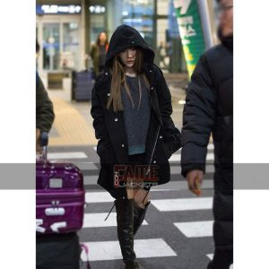 Goo Hara Black Cotton Hooded Coat