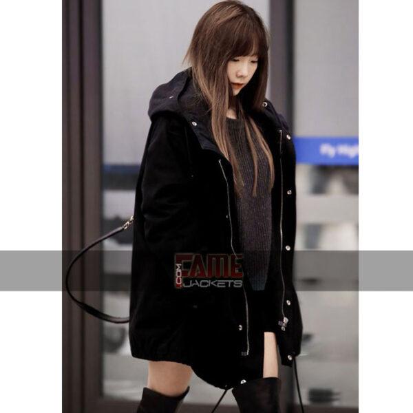 Goo Hara Black Cotton Hooded Jacket