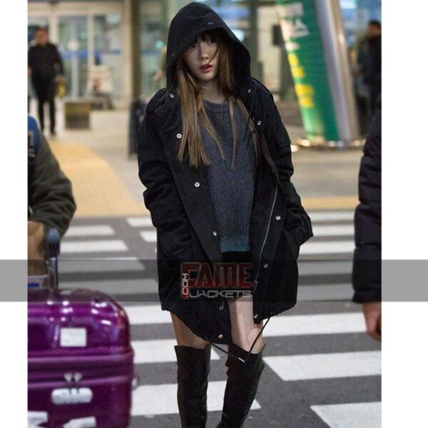 Goo Hara Black Coat With hood