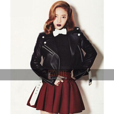 Goo Hara Black Leather Jacket
