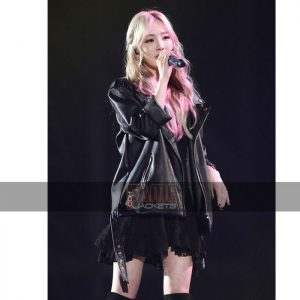 Goo Hara Black Leather Jacket