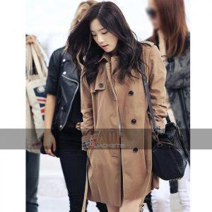 Goo Hara Brown Cotton Coat